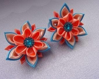 Elastics to hair for child/Chouchox Ribbon satin/Ponytail holders/flowers kanzashi in satin/ribbon satin