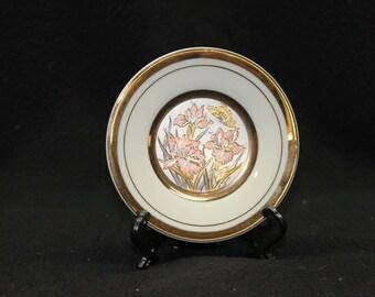 Art of Chokin Floral Butterfly Plate 24K Gold