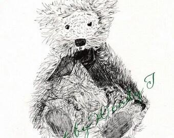 """Teddy line drawing """"Cuddles"""""""