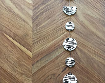 Moon Phases Wall Hanging - White Black Grey, Gifts For Her, Modern Home Decor, Boho Decor, Moon Decor, Black And White Art, Handmade Decor