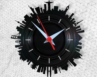 World - Vinyl Clock - Wallclock - Handmade - Arte no LP - Gift