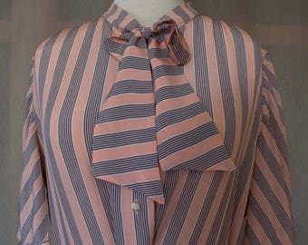 Vintage 80 's dress pink and grey lines