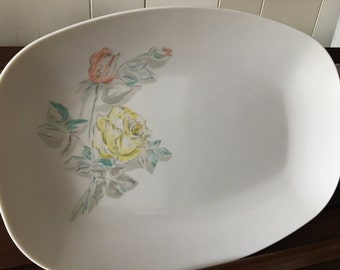 Vintage Marcrest Melmac Melamine Large Serving Platter with Salmon and Yellow Roses with Gray Stems