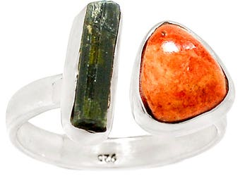 Chic silver ring 925 with coral and tourmaline - RG 17.5 top
