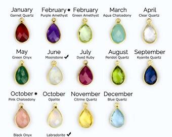 Birthstone pendant etsy add on birthstone bezel teardrop charm to any necklace or bracelet gemstone charm small aloadofball Choice Image