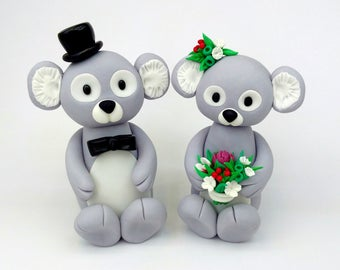 Koala Wedding Cake Bride and Groom Topper, with Australian native flower bouquet, edible fondant decoration