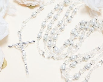 "34"" White Pearl Wedding Lasso - Crystal Wedding Lasso Rosary - Lazo de Boda Perla"