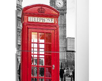 "Fridge Vinyl Sticker *** London Phone Booth *** / Self-Adhesive Vinyl Refrigerator Decal / 185 x 60 cm  (73"" x 24"") / Vinyl Wallpaper"
