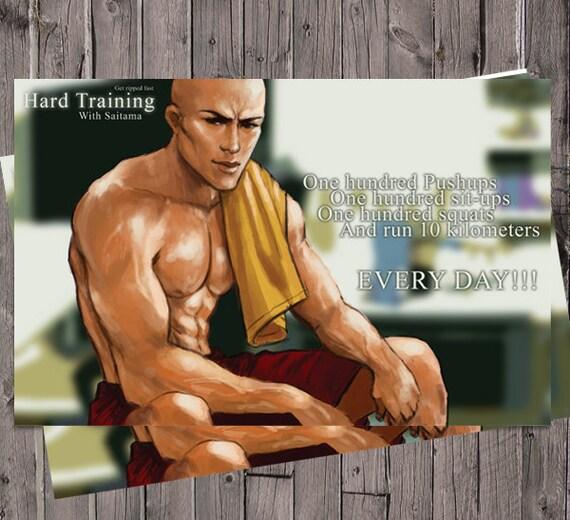 One Punch Man Saitama Fitness Motivational Poster