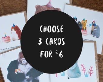 Greeting Cards, 3 For 6 Pounds, Birthday Card, Celebration, Congratulations, Cat Lovers Card, Funny Animal Card, Funny Greeting Card