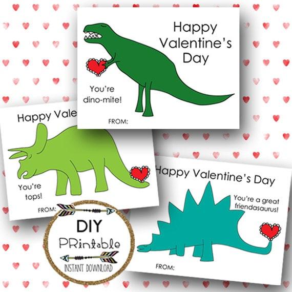 PRINTABLE Valentine Cards Printable Dinosaur By Luxeprairie
