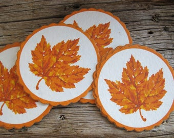 Autum maple leaf paper coasters (set of 6) / Vintage 3 1/4 inch gold printed coasters