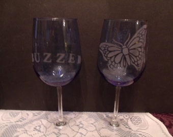 Set of Two Wine Glasses with etched Butterfly and Bees, (# 781/44)