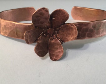 Petite Copper Cuff with Flower
