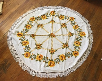 Vintage Circular Terry Cloth Tablecloth With Yellow Roses In A Wheel Design and Fringe