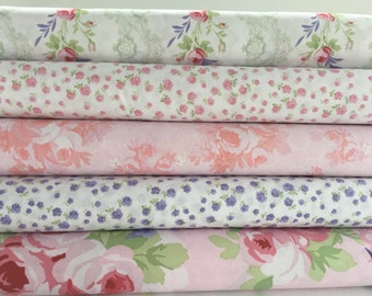 Bundle of 5 Fabrics from Fidelia Collection by Clothworks, Roses and Birds