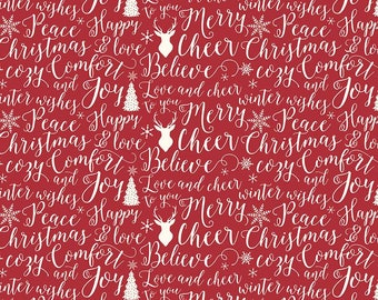 """End of Bolt, Christmas Words in Red Cotton Fabric from the Comfort and Joy Collection by Dani Mogstad 24""""x44"""""""