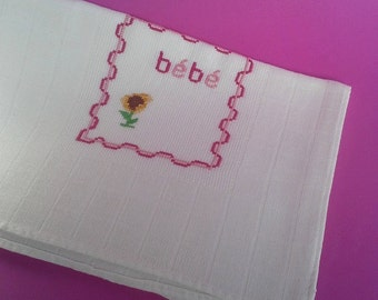 Baby girl burp cloth, 100%Cotton, Traditional Portuguese Diaper, Shower Gift, needlework, yellow flower, stroller blanket, Bath and Beauty,