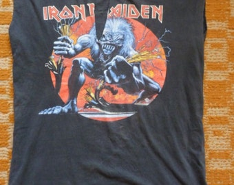 Vintage IRON MAIDEN t-shirt, 1993 Real Live 90s concert tour shirt, 2 sided, 80s heavy metal rock, size L