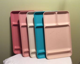 Vintage Set of Five Tupperware Colorful Lunch Trays School Cafeteria Arts and Crafts Pink Tan Blue Large Seperated Plastic Tray