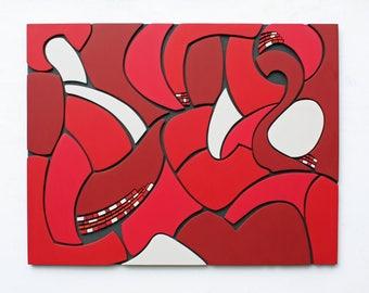 Large Wall Art | 'Maze-J' | Wood Art | Conceptual Art | Abstract | Sculpture | Wood Wall Art | Mosaic |