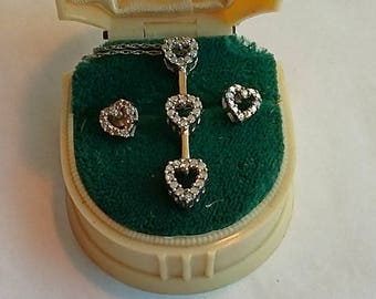Vintage 10K White Gold Necklace & Earring Set, Heart Shaped, Small Diamonds