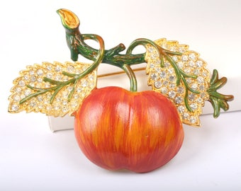 1950s Signed Weiss Enamel and Rhinestone Apple Brooch