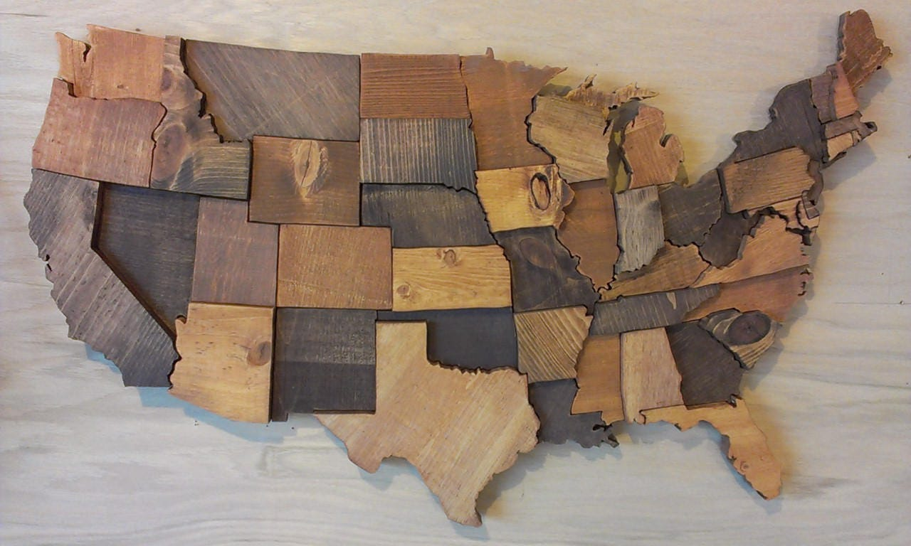 contiguous usa map wall art wooden state art united states map. Black Bedroom Furniture Sets. Home Design Ideas