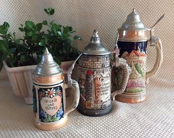 "Vintage West Germany beer stein dancing couple 9"" tall"
