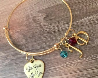 God Gave Me You adjustable bangle charm bracelet
