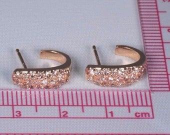 14K Rose Gold Diamond J Hoop Earrings