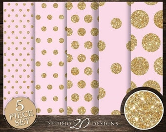 50% OFF! Instant Download Pink Gold Digital Paper, 12x12 Printable Gold Glitter Digital Paper, Pink Gold Polka Dot Background 20DPA