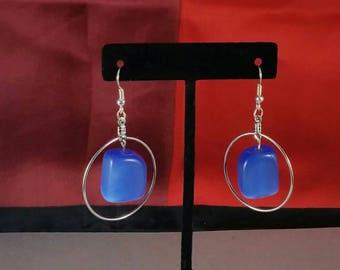 Handmade Earrings blue cat's eye cubes in hoops