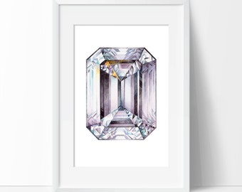 Diamond Print, Wall Art Print, April Birthstone Poster, Watercolor Gemstone, Gemstone Print, Brilliant Painting Art Gift, Home Decor