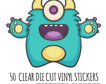CLear Diecut Custom Stickers- 50 Clear Vinyl Die Cut Stickers- Cut to Any Shape- Waterproof