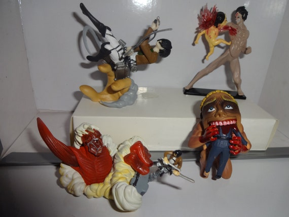 Mister a gift rare anime attack on titan set of 4 plastic for Anime beyblade cake topper decoration set