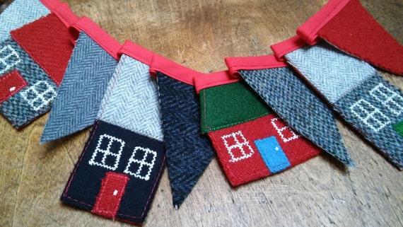 Hand made Harris Tweed House Bunting