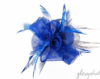 Blue Classic Sinamay Flower Fascinator/Clip