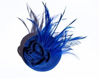 Beautiful  Intense Blue Sinamay Headpiece