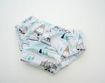 Boy diaper cover-Boy bloomers-Gender neutral diaper cover-Nappy cover-Teepees in aqua diaper cover-Teepee diaper cover