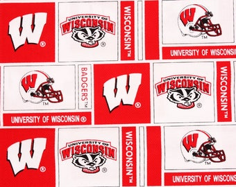 "University of Wisconsin Badgers Fabric by the Half Yard 45cm by 108cm or 18"" by 43"""