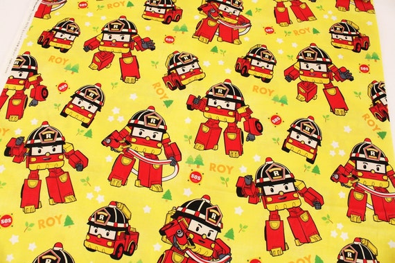 Robocar poli roy korean anime character fabric made in for Kids character fabric