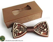Wood bow tie Music wooden musical bowtie treble clef notes note artist show hand made gift present wedding party perfect original man