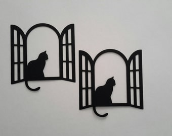 Window frame with cat die cuts - Window frame die cut - Window frame cutout - Cat die cut - Paper window die cut - Paper window cutouts