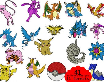 Pokemon Characters Embroidery Design - 41 different designs
