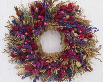 pink, purple and blue dried flower and corn tassel wreath/colorful dried flowers and corn tassel wreath/rustic colorful corn tassel wreath