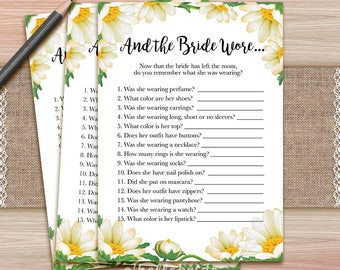 And the Bride Wore - Printable Daisy Bridal Shower Game - White Floral Bridal Shower - 029