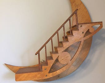 Wooden Moon Nursery Decor. Wall Display Staircase. Wood 3D Stairs on the Moon.
