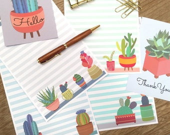 Writing Set- Cactus, bonus 4x6 cards, stationery, writing set, letter set, note paper