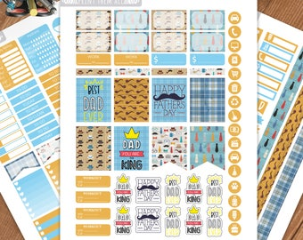Father's Day Planner Stickers Printable, Erin Condren Weekly Sticker Kit, ECLP Weekly Vertical, Father's Day Planner Stickers, Sticker Kit